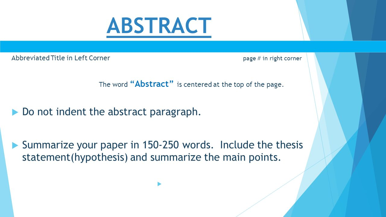 apa research paper with abstract