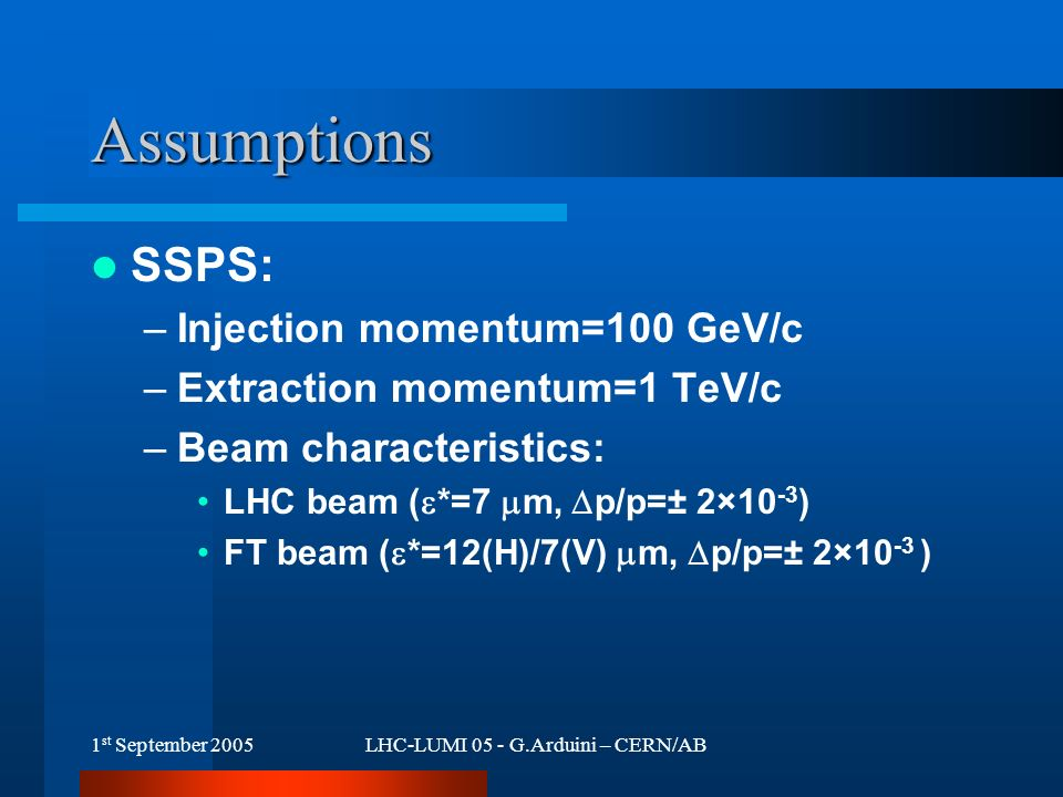 1 st September 2005LHC-LUMI 05 - G.Arduini – CERN/AB Assumptions SSPS: –Injection momentum=100 GeV/c –Extraction momentum=1 TeV/c –Beam characteristics: LHC beam (  *=7  m,  p/p=± 2×10 -3 ) FT beam (  *=12(H)/7(V)  m,  p/p=± 2×10 -3 )