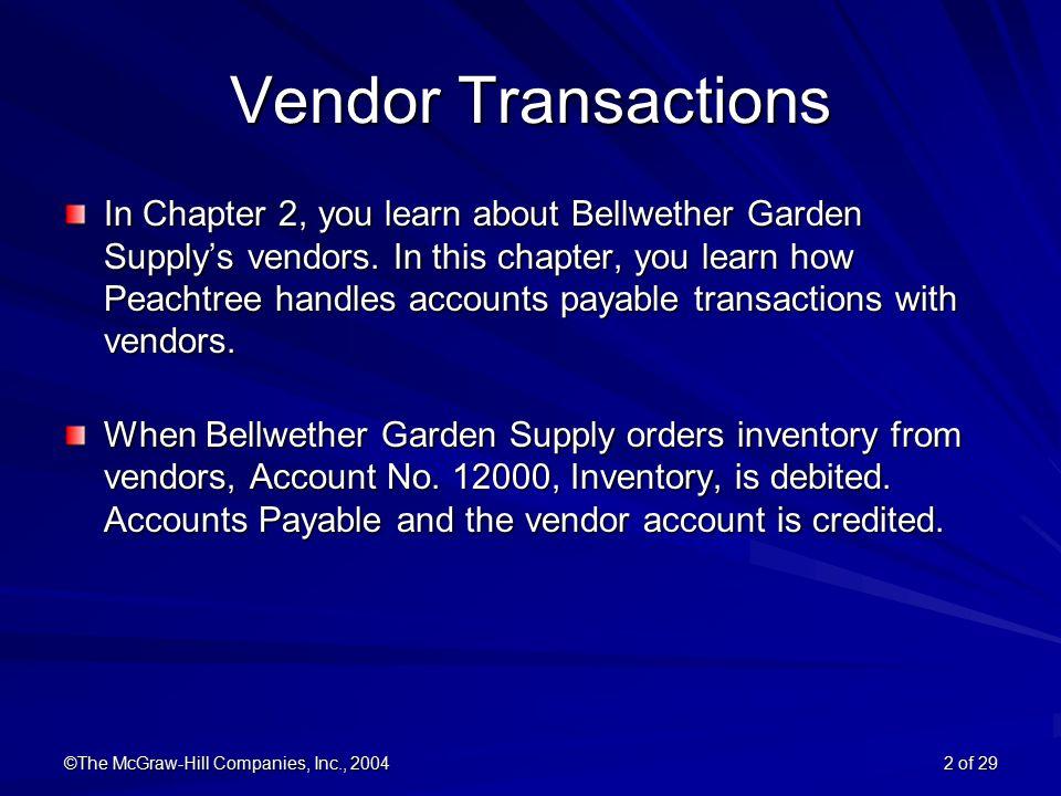 ©The McGraw Hill Companies, Inc., 2004 2 Of 29 Vendor Transactions