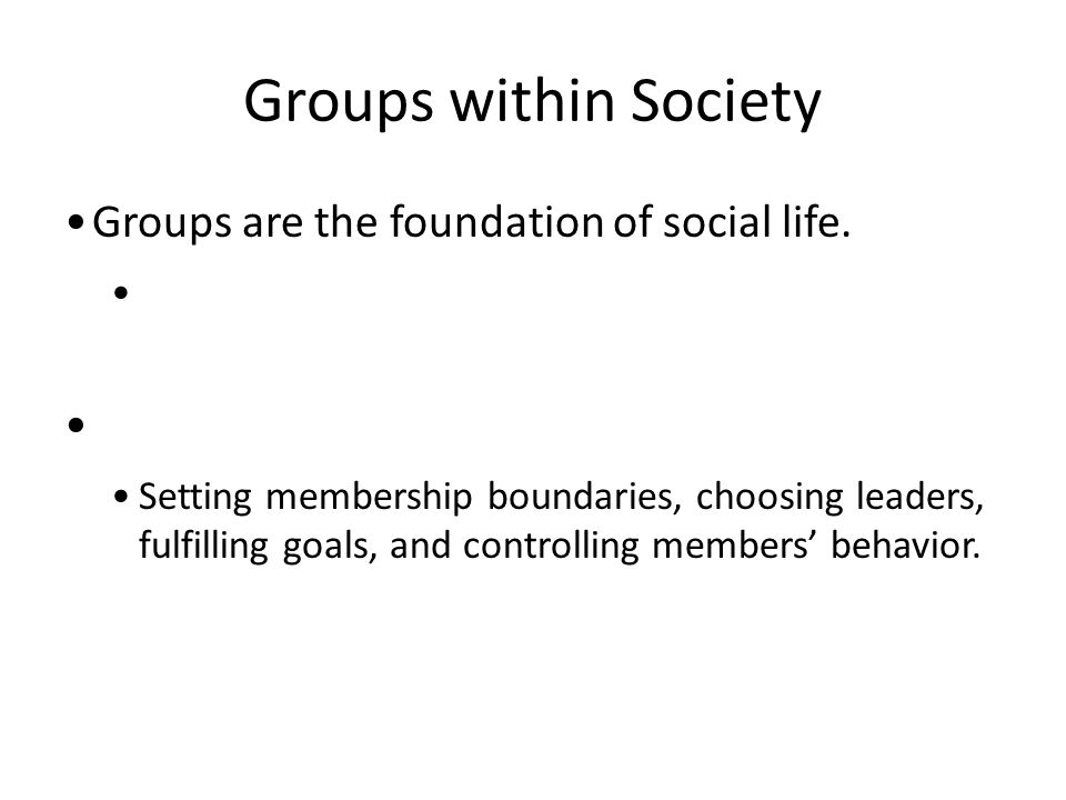 Groups within Society Groups are the foundation of social life. Setting membership boundaries, choosing leaders, fulfilling goals, and controlling mem