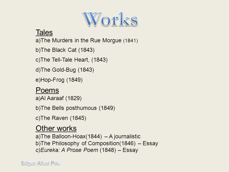 index edgar´s life edgar s work a he was born on  6 tales a the
