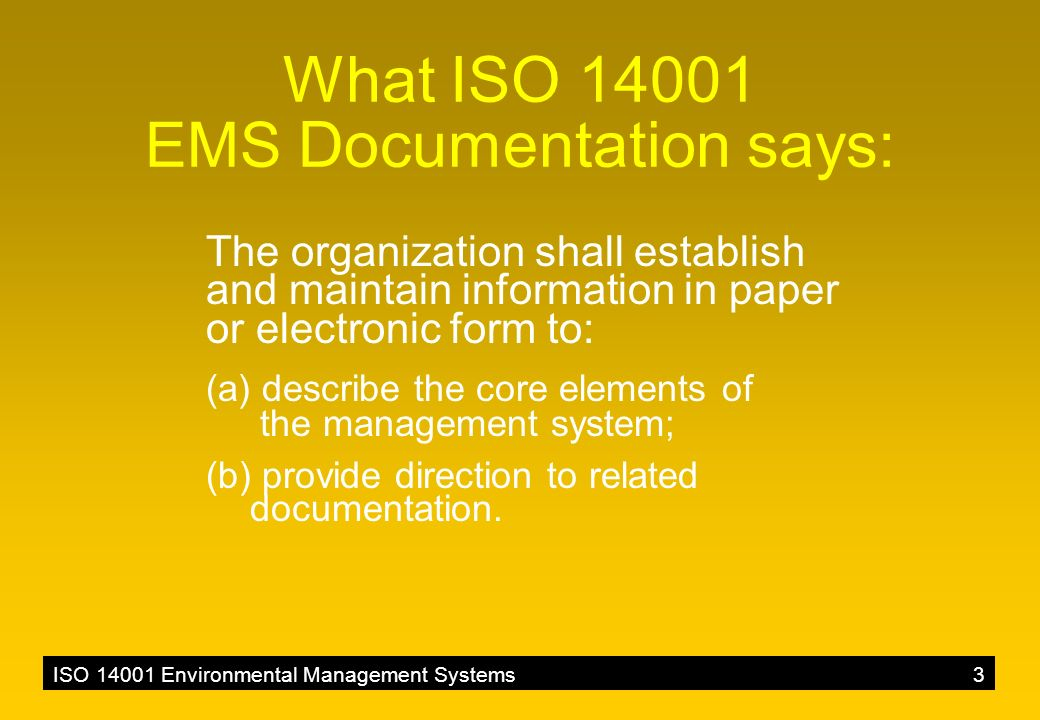 ISO 14001 Environmental Management Systems3 What ISO 14001 EMS Documentation says: The organization shall establish and maintain information in paper or electronic form to: (a) describe the core elements of the management system; (b) provide direction to related documentation.