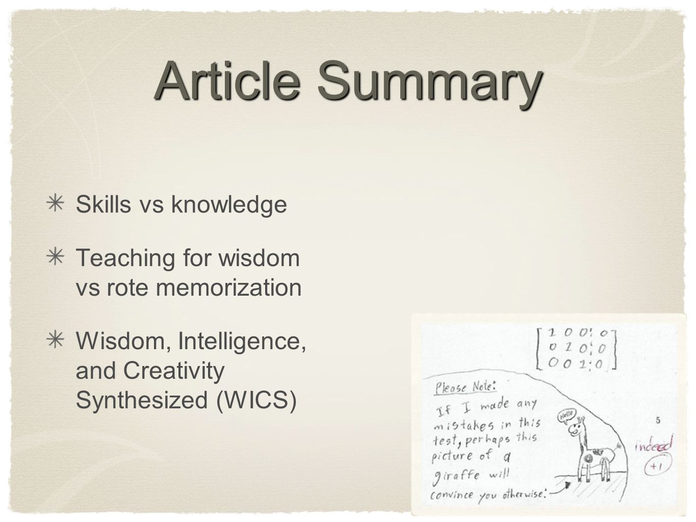 article summary 2 A summary begins with an introductory sentence that states the article's title and author 2 a summary must contain the main thesis or standpoint of the text, restated in your own words.