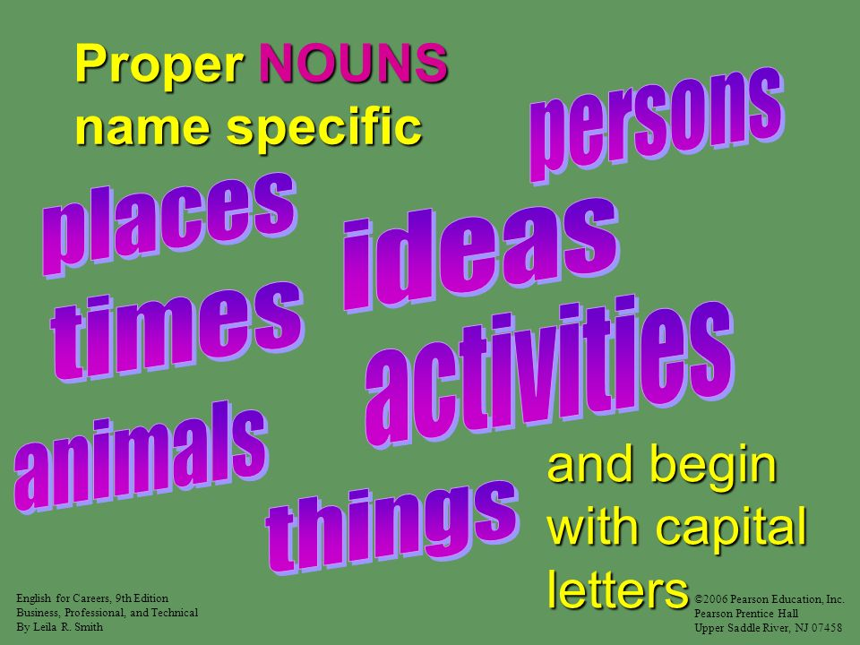 NOUNS name singer student executive city home college Common NOUNS begin with lowercase letters.