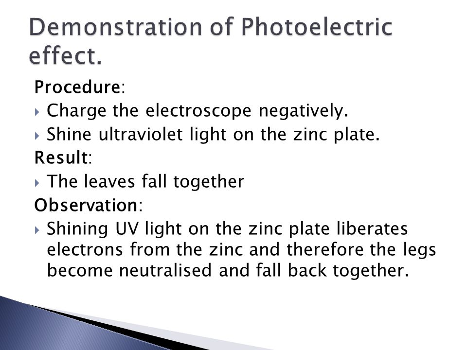 Procedure:  Charge the electroscope negatively.  Shine ultraviolet light on the zinc plate.