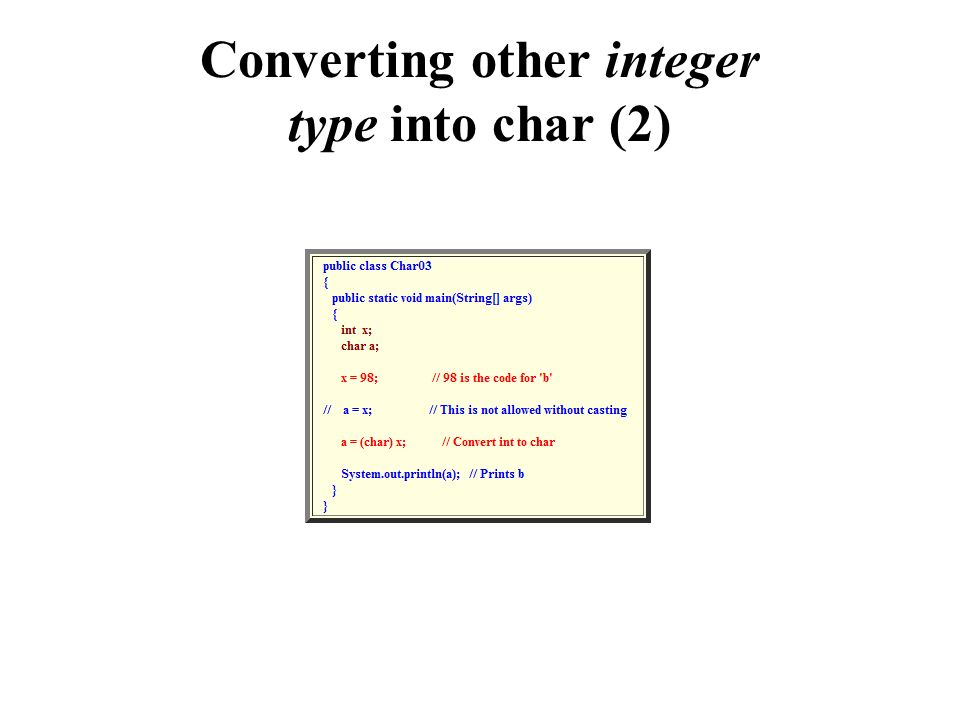 Converting other integer type into char (2)