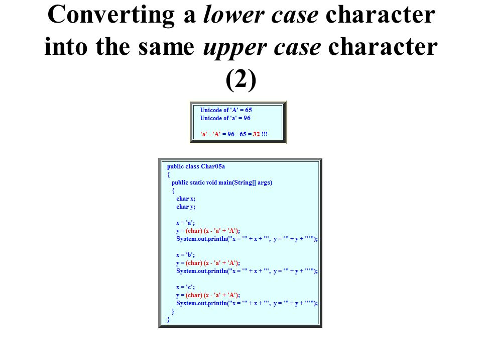 Converting a lower case character into the same upper case character (2)