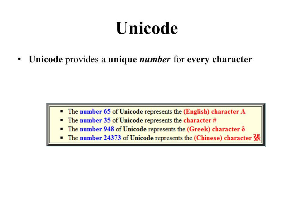Unicode Unicode provides a unique number for every character