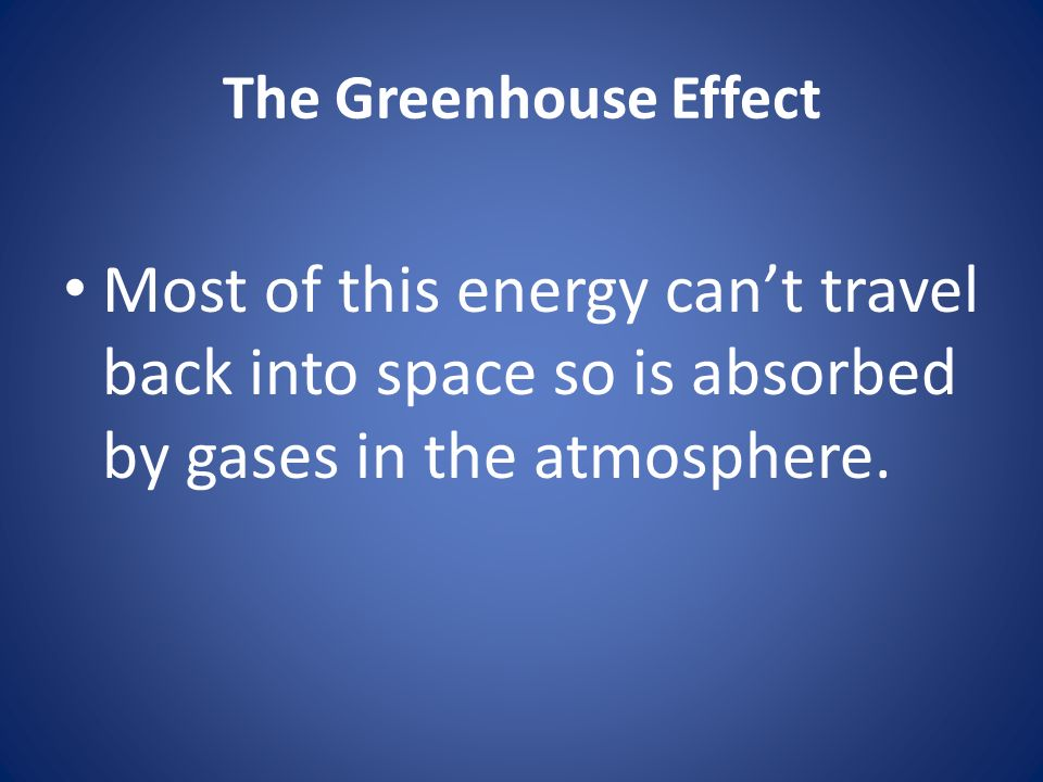 The Greenhouse Effect Most of this energy can't travel back into space so is absorbed by gases in the atmosphere.