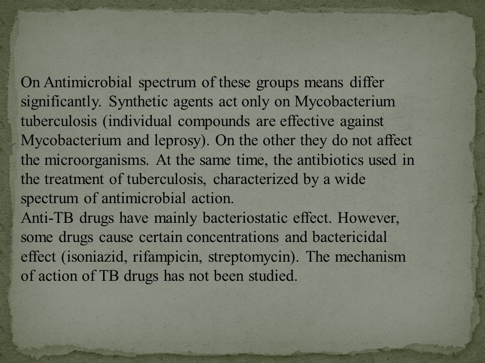 On Antimicrobial spectrum of these groups means differ significantly.
