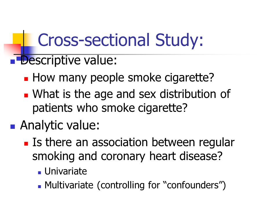 Cross-sectional Study: Descriptive value: How many people smoke cigarette.