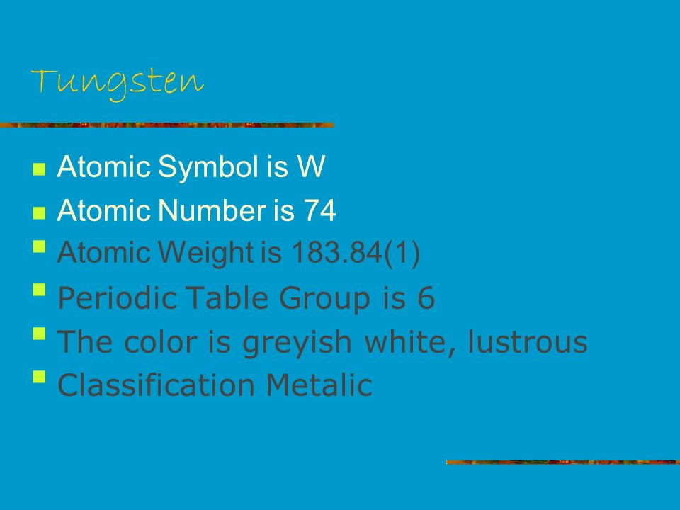 Tungsten by jewlz tungsten atomic symbol is w atomic number is 2 tungsten atomic symbol is w atomic number is 74 atomic weight is 183841 periodic table group is 6 the color is greyish white lustrous classification urtaz Choice Image