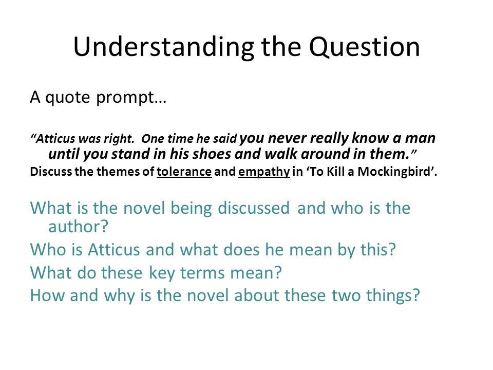 writing great essays using harper lee s to kill a mockingbird  understanding the question a quote prompt atticus was right