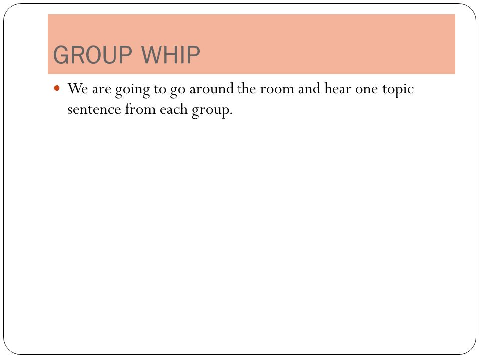 Help generating a topic sentence!?