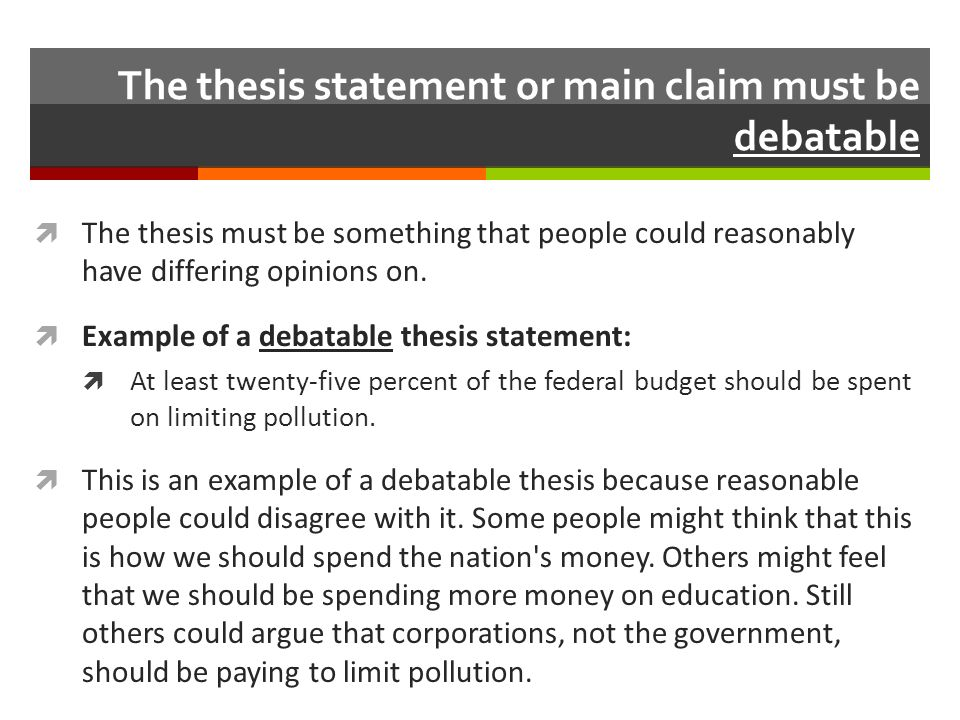 Speech Thesis Statement Examples