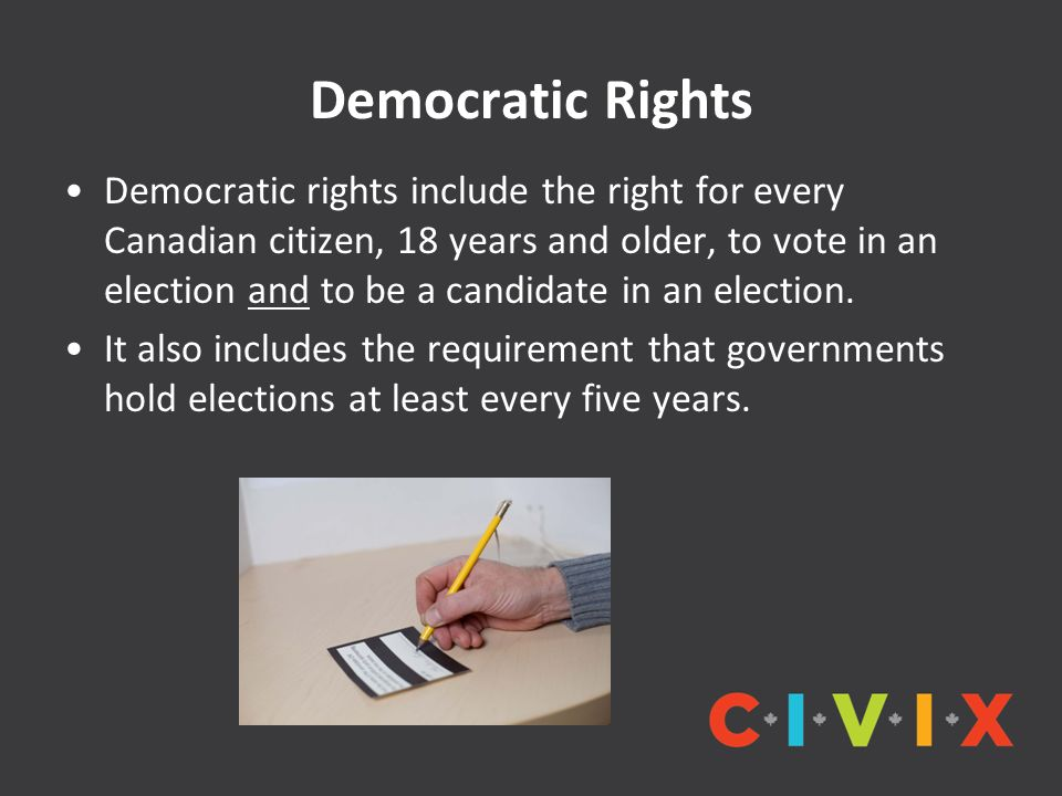 Democratic Rights Democratic rights include the right for every Canadian citizen, 18 years and older, to vote in an election and to be a candidate in an election.