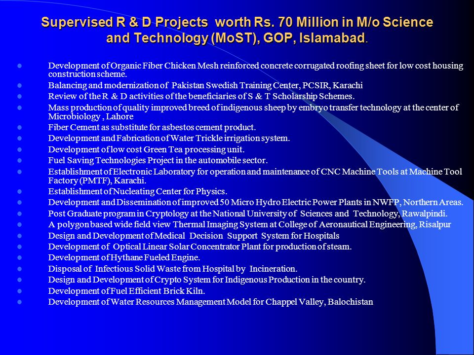 Supervised R & D Projects worth Rs.