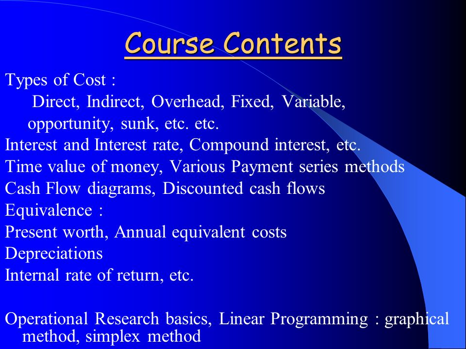 Course Contents Types of Cost : Direct, Indirect, Overhead, Fixed, Variable, opportunity, sunk, etc.