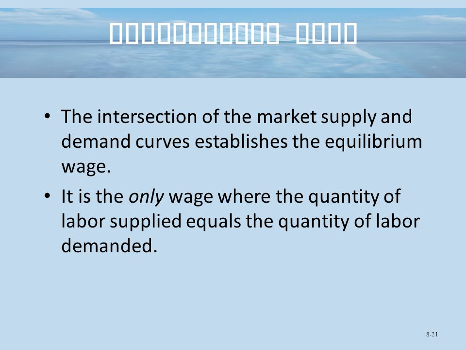 Equilibrium Wage The intersection of the market supply and demand curves establishes the equilibrium wage.