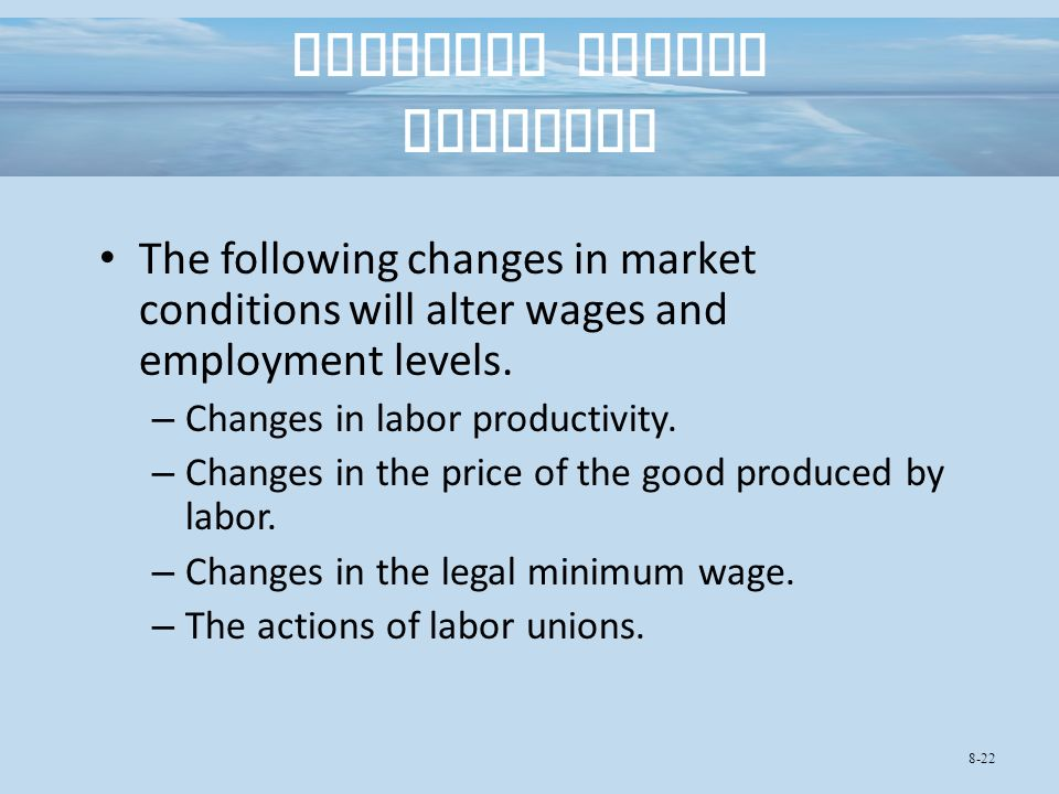 Changing Market Outcomes The following changes in market conditions will alter wages and employment levels.