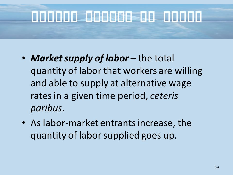 Market Supply of Labor Market supply of labor – the total quantity of labor that workers are willing and able to supply at alternative wage rates in a given time period, ceteris paribus.