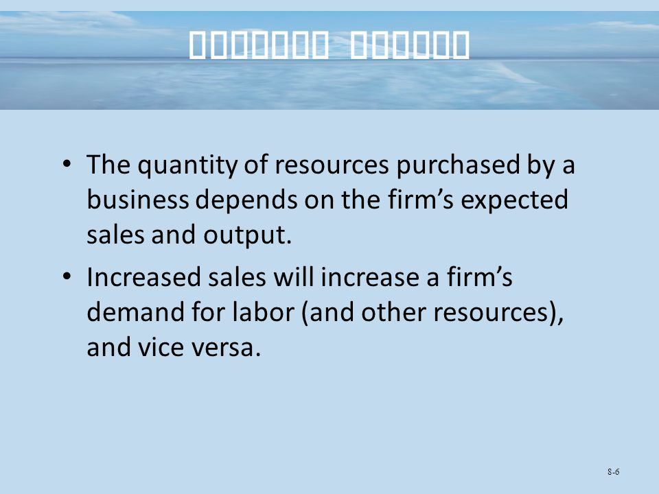 The quantity of resources purchased by a business depends on the firm's expected sales and output.
