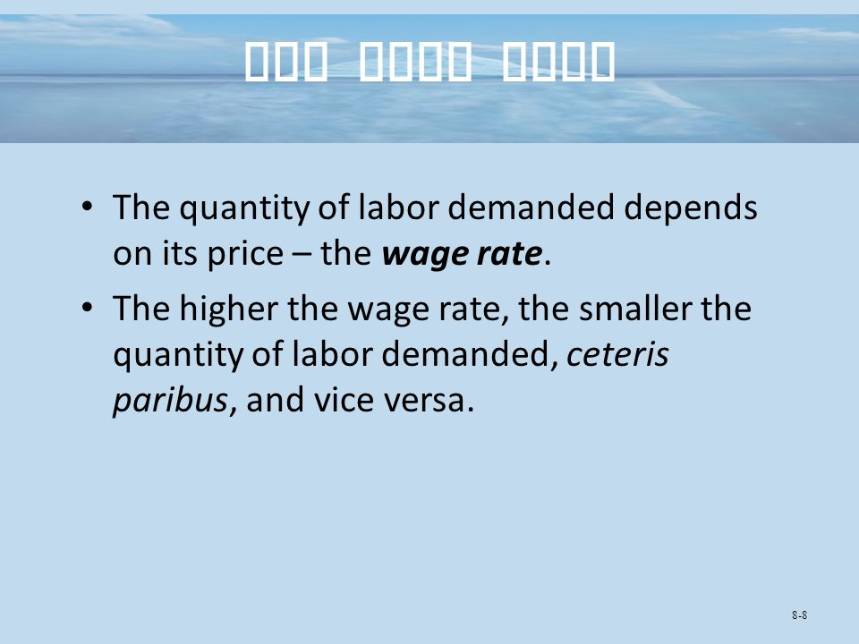 The Wage Rate The quantity of labor demanded depends on its price – the wage rate.