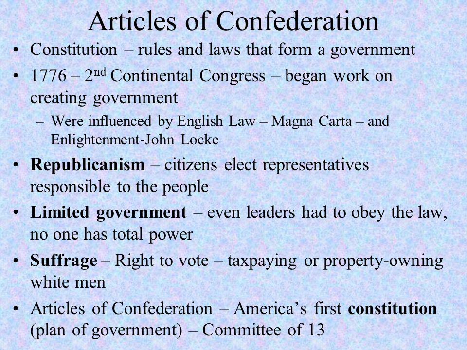 Articles of Confederation/U.S. Constitution. Articles of ...