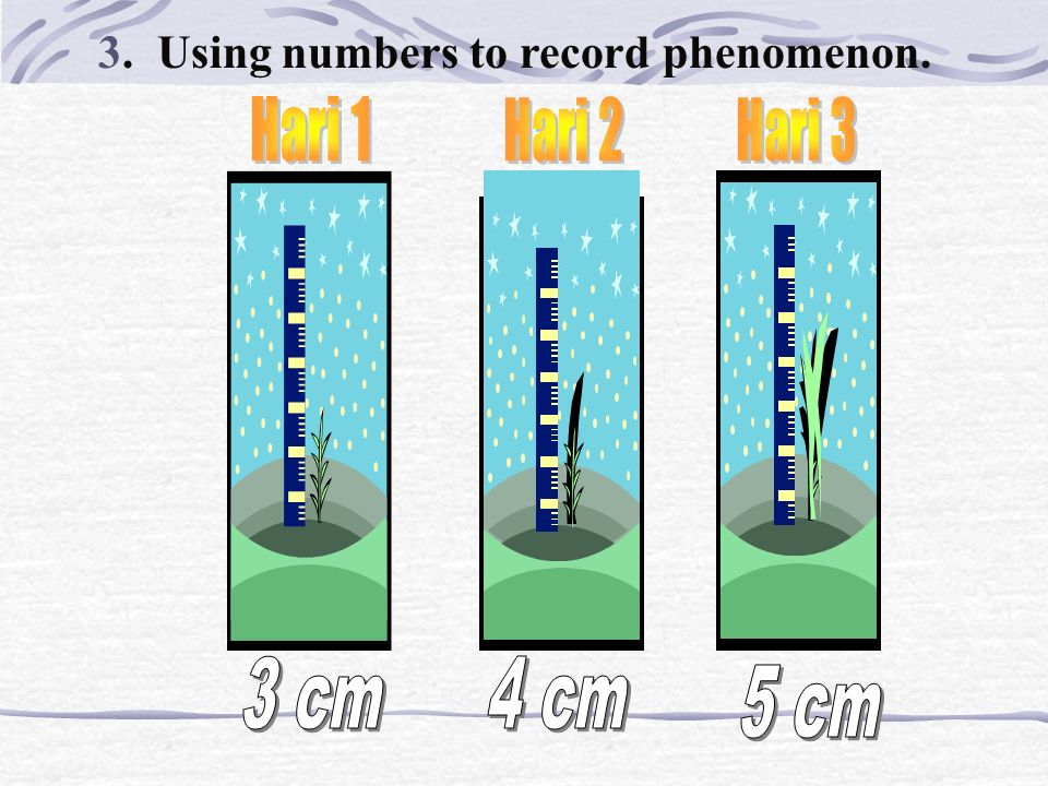 3. Using numbers to record phenomenon. 0 = STOP 1=1= SLOW 2 = FAST 3 = FASTEST