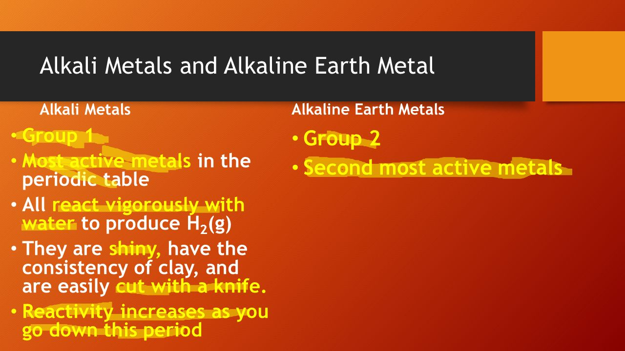 Aim how are elements organized in the periodic table ppt download alkaline earth metals group 1 most active metals in the periodic table all react vigorously with water to produce h2g they are shiny gamestrikefo Images