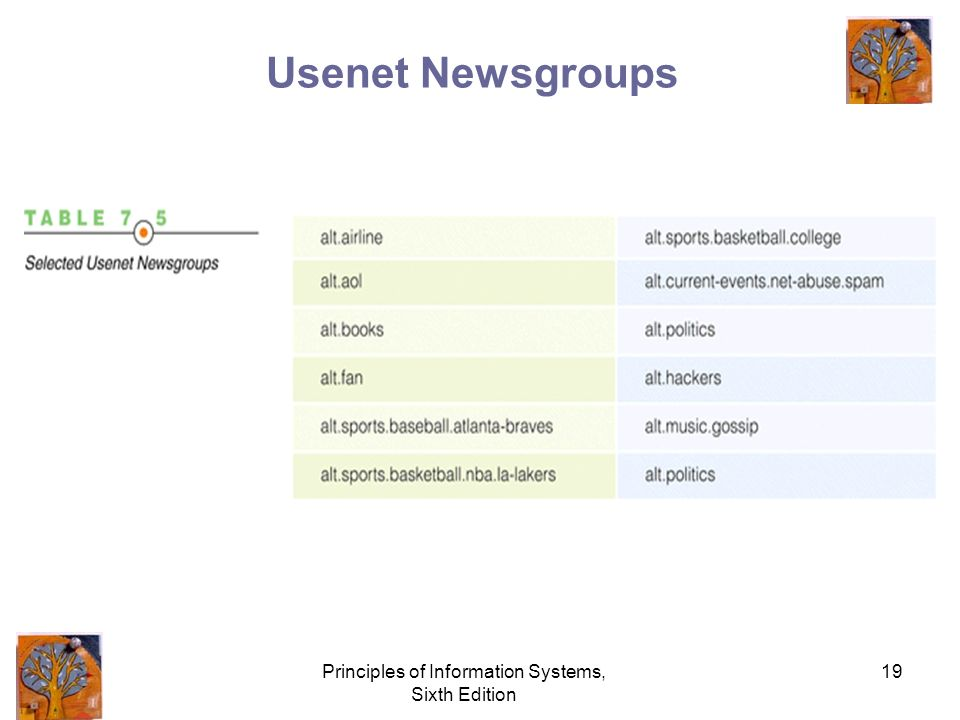 Principles of Information Systems, Sixth Edition 19 Usenet Newsgroups