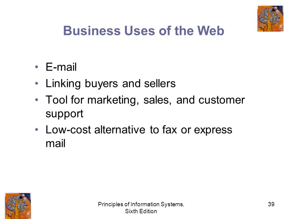 Principles of Information Systems, Sixth Edition 39 Business Uses of the Web E-mail Linking buyers and sellers Tool for marketing, sales, and customer support Low-cost alternative to fax or express mail