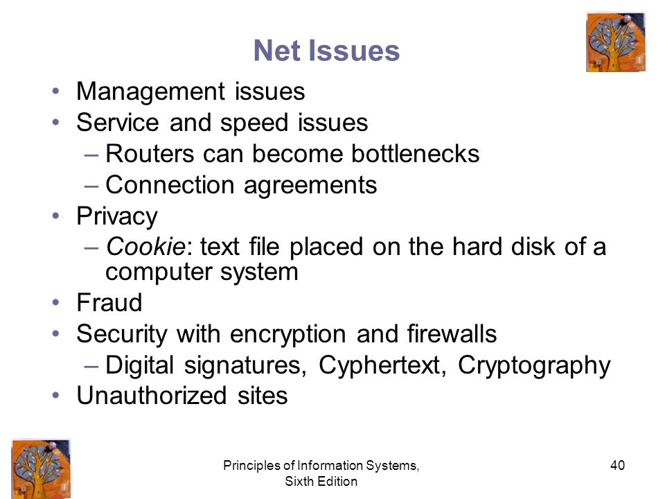 Principles of Information Systems, Sixth Edition 40 Net Issues Management issues Service and speed issues –Routers can become bottlenecks –Connection agreements Privacy –Cookie: text file placed on the hard disk of a computer system Fraud Security with encryption and firewalls –Digital signatures, Cyphertext, Cryptography Unauthorized sites