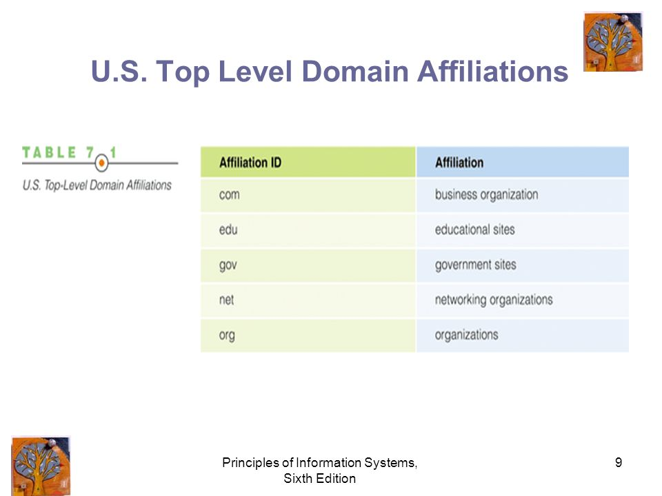 Principles of Information Systems, Sixth Edition 9 U.S. Top Level Domain Affiliations