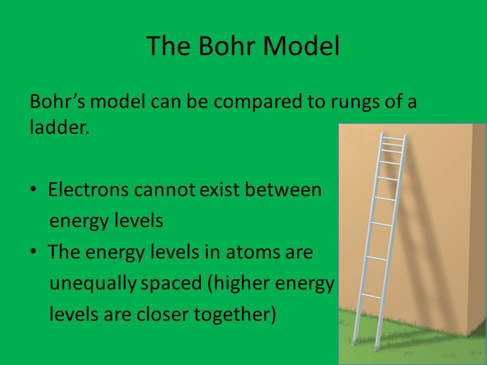 Do now 1 determine how many protons neutrons and electrons are the bohr model bohrs model can be compared to rungs of a ladder ccuart Images