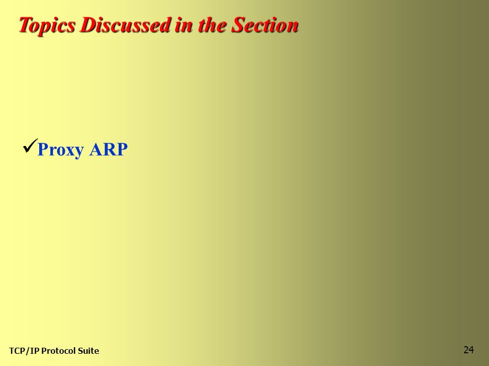 TCP/IP Protocol Suite 24 Topics Discussed in the Section Proxy ARP