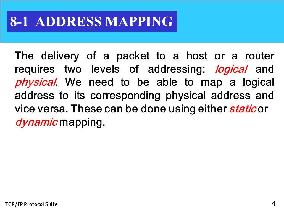 TCP/IP Protocol Suite 4 8-1 ADDRESS MAPPING The delivery of a packet to a host or a router requires two levels of addressing: logical and physical.