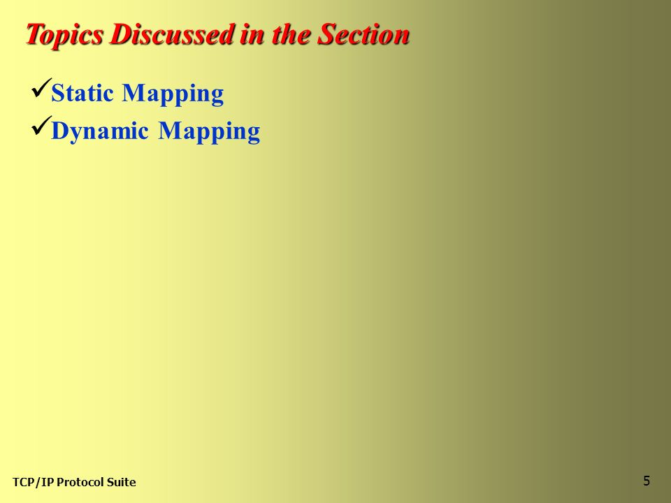 TCP/IP Protocol Suite 5 Topics Discussed in the Section Static Mapping Dynamic Mapping