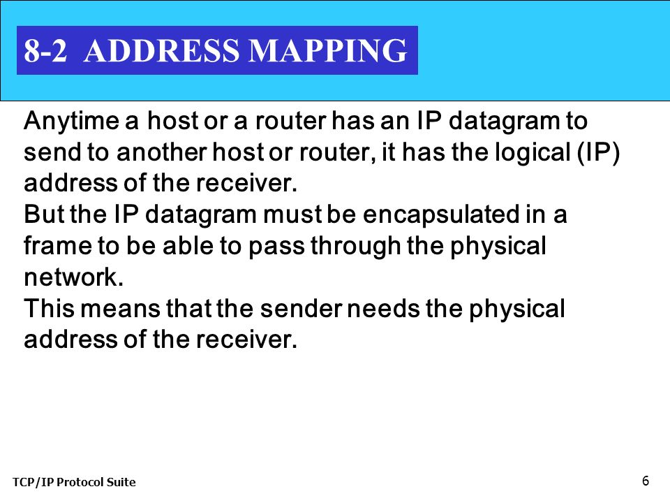 TCP/IP Protocol Suite 6 8-2 ADDRESS MAPPING Anytime a host or a router has an IP datagram to send to another host or router, it has the logical (IP) address of the receiver.