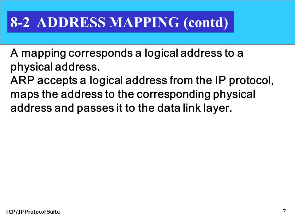 TCP/IP Protocol Suite 7 8-2 ADDRESS MAPPING (contd) A mapping corresponds a logical address to a physical address.