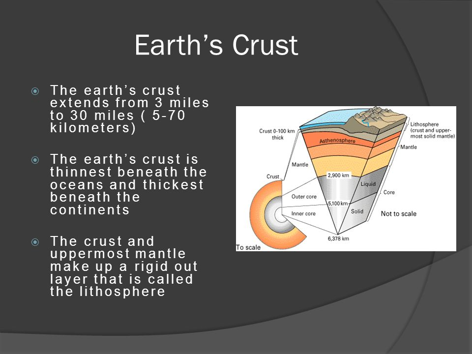 Earth's Crust  The earth's crust extends from 3 miles to 30 miles ( 5-70 kilometers)  The earth's crust is thinnest beneath the oceans and thickest beneath the continents  The crust and uppermost mantle make up a rigid out layer that is called the lithosphere