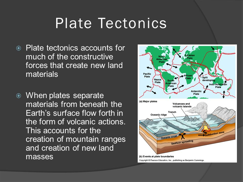 Plate Tectonics  Plate tectonics accounts for much of the constructive forces that create new land materials  When plates separate materials from beneath the Earth's surface flow forth in the form of volcanic actions.