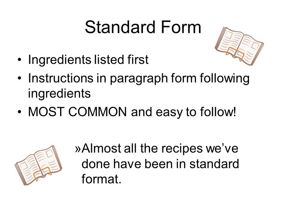 Recipe Standard Format Boatremyeaton