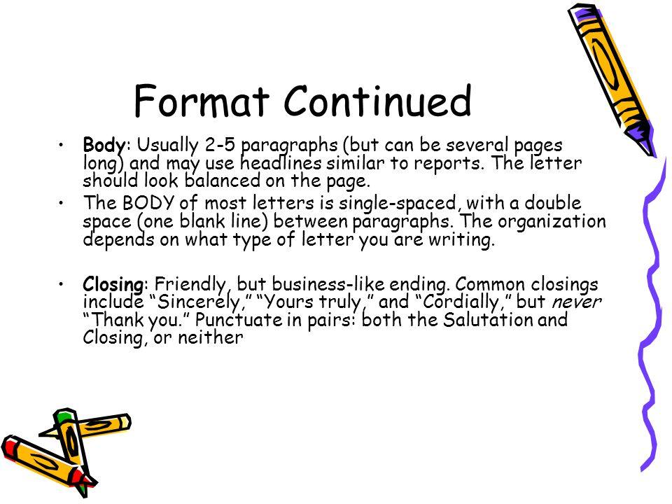 Letter paragraph format