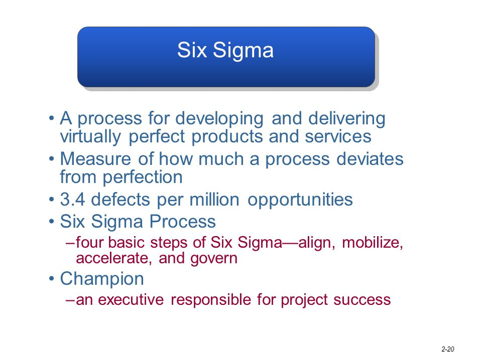 2-20 Six Sigma A process for developing and delivering virtually perfect products and services Measure of how much a process deviates from perfection 3.4 defects per million opportunities Six Sigma Process –four basic steps of Six Sigma—align, mobilize, accelerate, and govern Champion –an executive responsible for project success