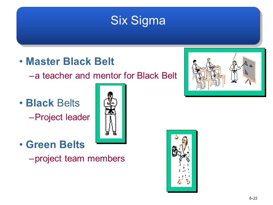 6–23 Six Sigma Master Black Belt –a teacher and mentor for Black Belt Black Belts –Project leader Green Belts –project team members