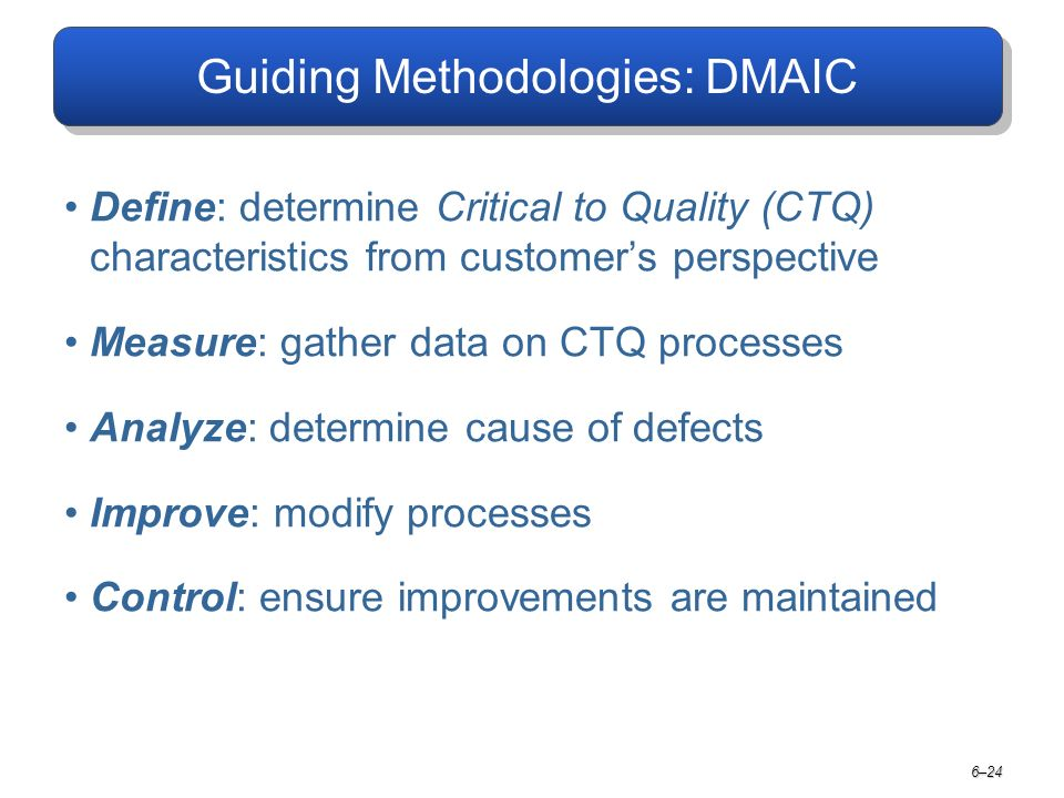 Guiding Methodologies: DMAIC Define: determine Critical to Quality (CTQ) characteristics from customer's perspective Measure: gather data on CTQ processes Analyze: determine cause of defects Improve: modify processes Control: ensure improvements are maintained 6–24