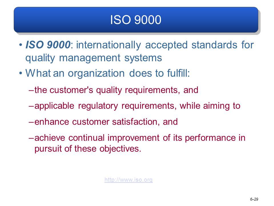 ISO 9000 ISO 9000: internationally accepted standards for quality management systems What an organization does to fulfill: –the customer s quality requirements, and –applicable regulatory requirements, while aiming to –enhance customer satisfaction, and –achieve continual improvement of its performance in pursuit of these objectives.