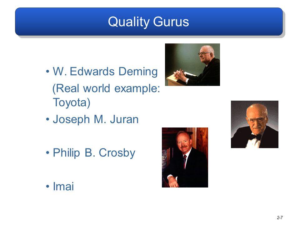2-7 Quality Gurus W. Edwards Deming (Real world example: Toyota) Joseph M. Juran Philip B. Crosby Imai