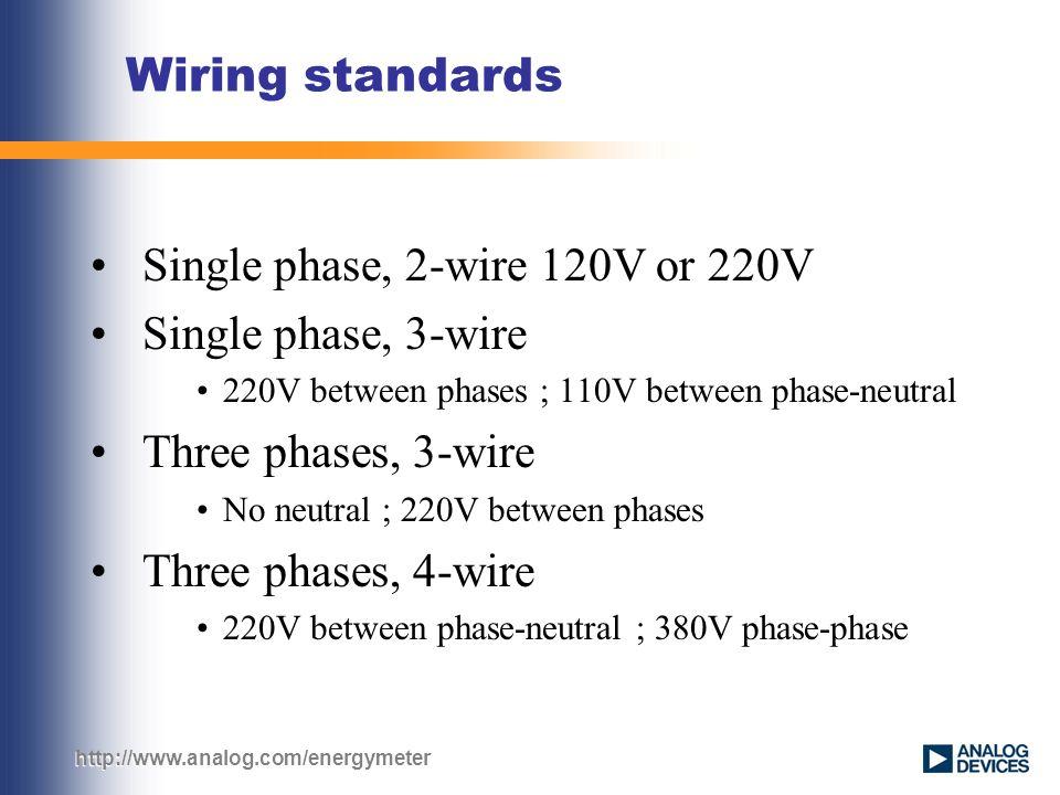 Wiring standards Single phase, 2-wire 120V or 220V Single phase, 3 ...
